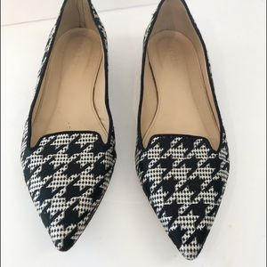 J. Crew Hounds tooth pointed toe flats